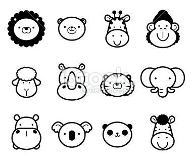 cute zoo animals  black  white templates animal