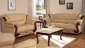 Beige, Color, Leather, Sofa, U0026, Loveseat, Elegant, Living, Room, Set