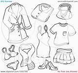 Coloring Clip Printable Female Clothes Barbie Clipart Collage Winter Sheets Underwear Drawing Rf Ages Visekart Template sketch template