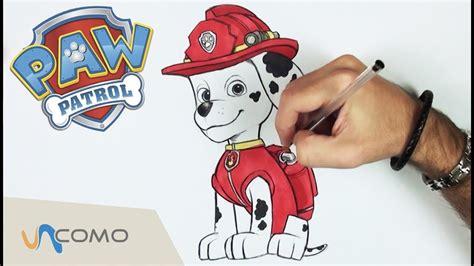 como dibujar  marshall de patrulla canina dibujos de paw patrol youtube
