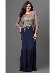Long Navy Mermaid Long Sleeves Gold Lace Long Plus Size ...