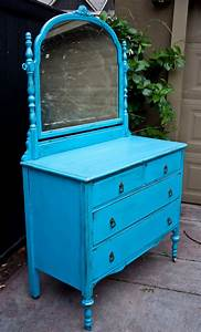 Modernly, Shabby, Chic, Furniture, Electric, Blue, Dresser, W, Mirror