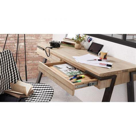 bureau pratique et design bureau design bois et métal 125x60 2 tiroirs spike by drawer