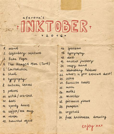 inktober prompts tumblr   draw   art