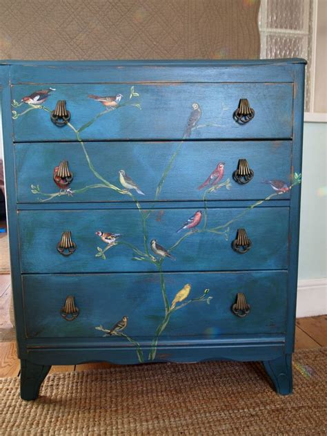 painting chest of drawers shabby chic details about vintage chest of drawers painted shabby chic distressed teal decoupage birds