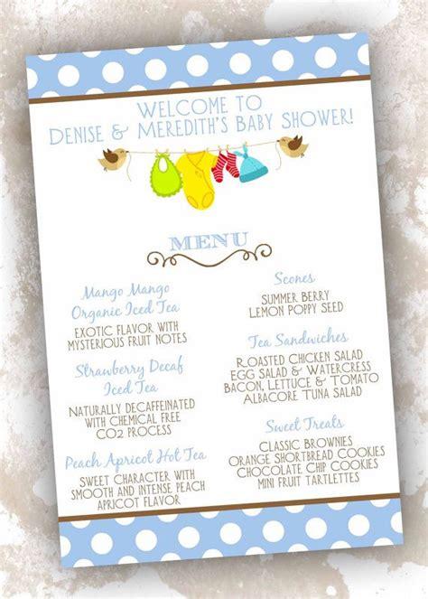 baby shower menu cards birthday menu card menu