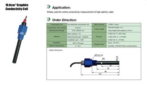 conductivity sensor graphite electrode  sensor water analysis solutions