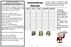 restaurant esl role play
