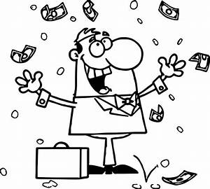 Business Coloring Page Of A Businessman With Briefcase ...