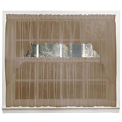 14 Inch Valance by Emelia 14 Inch Sheer Window Valance In Taupe Bed Bath