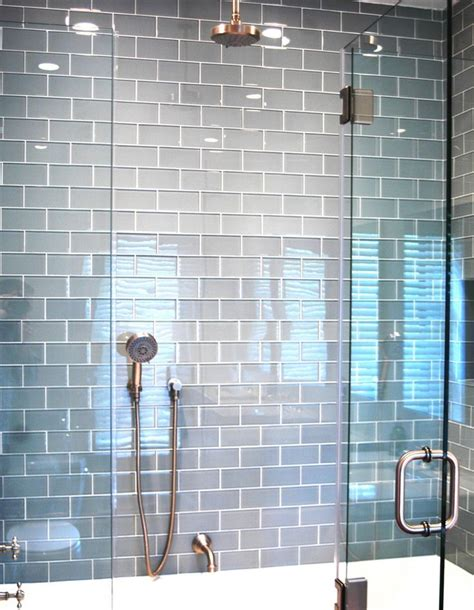 Light Blue Subway Tile Bathroom by Best 25 Glass Subway Tile Ideas On