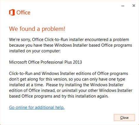 what is windows installer office installed with click to run and windows installer