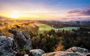 Mountains Hills Scenic Trees Forest Sunrise Sunset Morning ...