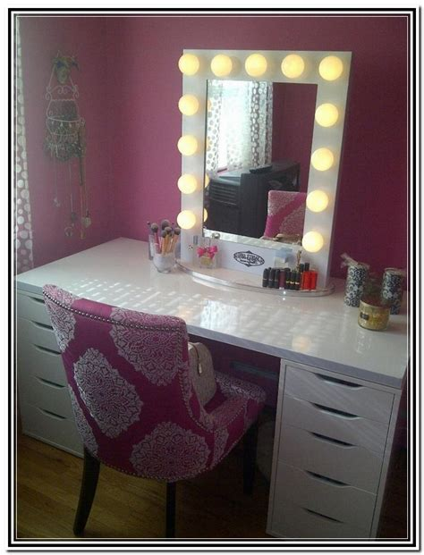 vanity table with lighted mirror and bench home design ideas vanity with lighted mirror in