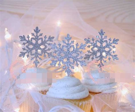 pcs silver snowflakes cake toppers birthday winter