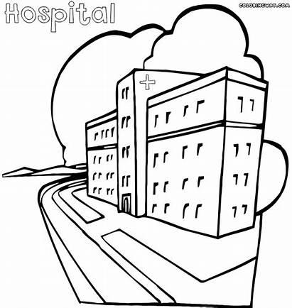 Hospital Coloring Building Sketch Hospital1 Template