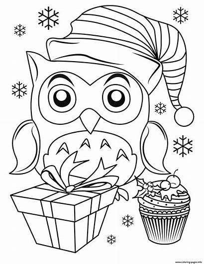 Coloring Christmas Owl Pages Printable