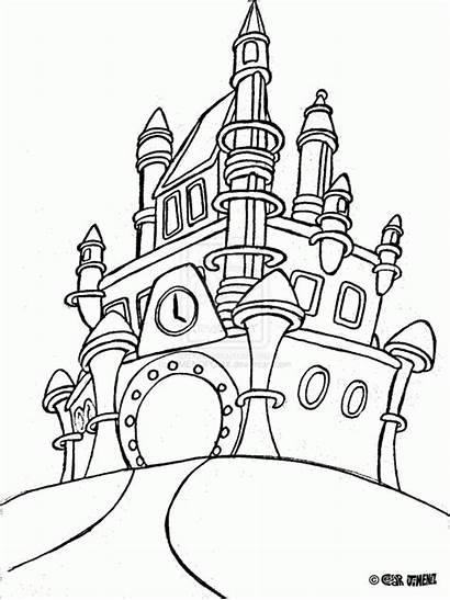 Castle Coloring Disney Pages Walt Cinderella Drawing