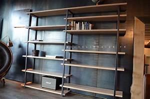Bibliothèque Métal Et Bois : biblioth que contemporaine acier bois sur mesure micheli design ~ Teatrodelosmanantiales.com Idées de Décoration