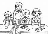 Colouring Pages Eat Student Lunchbox Coloring Cafeteria Template Sketch sketch template