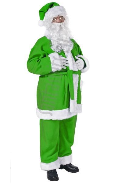 green santa suit jacket trousers and hat santa suits