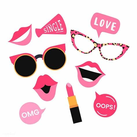 Photos illustrations vectors videos music. Woman accessories photo booth props vector   free image by ...