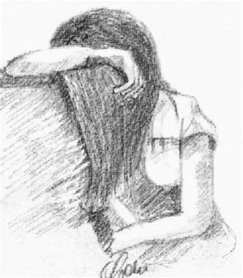 disegni a matita di ragazze tristi tristezza disegni ritratti