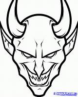 Devil Draw Face Demon Drawing Scary Drawings Step Cartoon Sketch Easy Coloring Pencil Pages Sheet Halloween Horns Dark Graffiti Demons sketch template