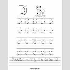Practice Writing The Letter D Worksheet  Twisty Noodle