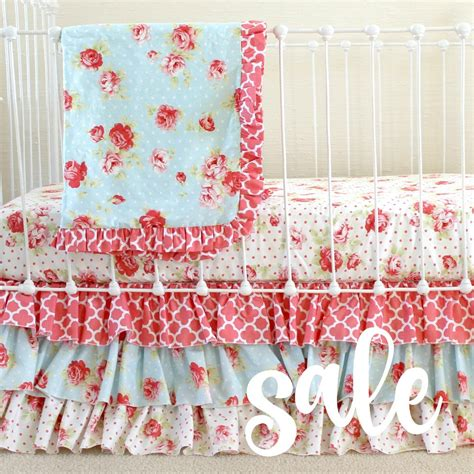 shabby chic bedding discount sale shabby chic roses baby girl bedding set cottage style