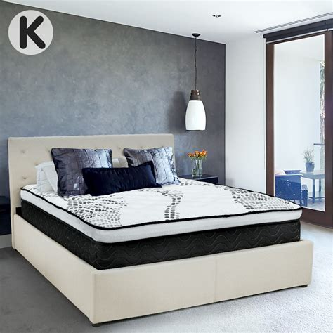 Bed Frame With Fabric Headboard by Buy King Fabric Gas Lift Bed Frame With Headboard Beige