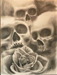 Realistic Skulls and Roses Drawings