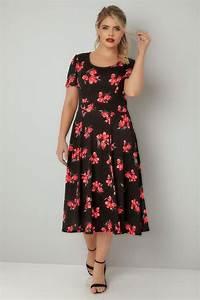 Black Floral Print Skater Dress With Self Tie Waist  Plus