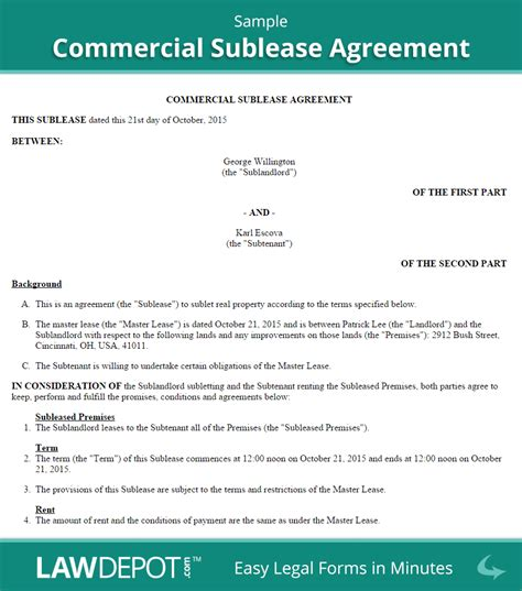 commercial sublease agreement template  lawdepot