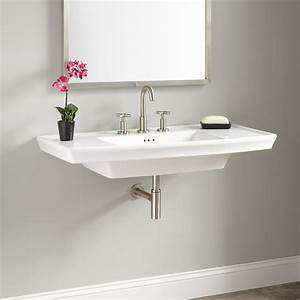 Olney porcelain wall mount sink bathroom for How to install wall mounted sink