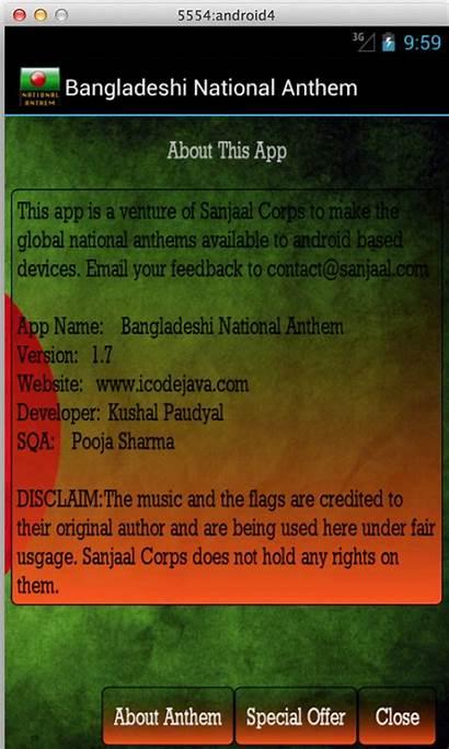 Anthem National Bangladesh Bangladeshi Bangla App Android