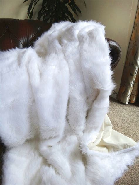 white faux fur throw blanket fake fox fur queen size