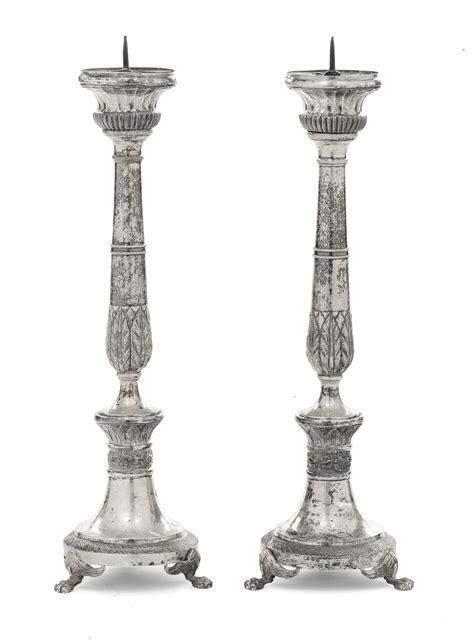 candelieri argento coppia di candelieri in argento fuso sbalzato e cesellato