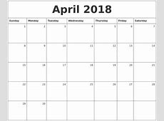 April 2018 Monthly Calendar