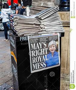 Newspapers Showing Theresa May In London, Hdr Editorial ...