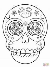 Coloring Skull Sugar Pages Simple Printable Paper Drawing Crafts sketch template