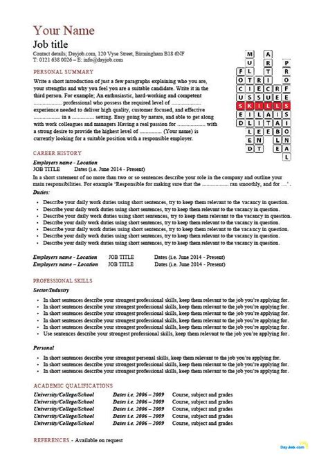 Different Layouts For Resumes by Cv Layout Character Fonts Personal Details Cv Template
