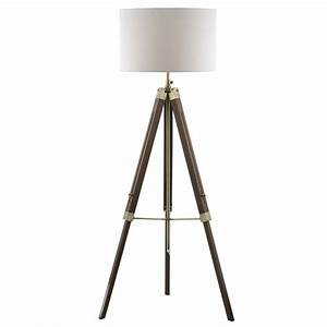 Tripod or easel like floor standing lamp with white linen for Tripod floor lamp silver base white shade