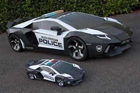 lamborghini aventador in half lamborghini aventador police car half scale cardboard