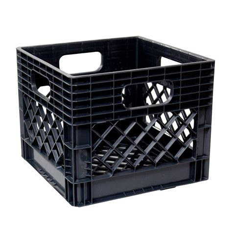 Kitchen Organizing Ideas - gsc technologies 11 in x 13 in x 13 in black milk crate mc131311 002 the home depot