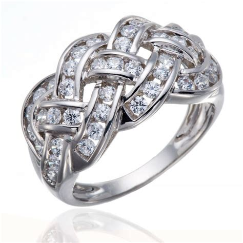 celtic knot aaaaa white cubic zirconia engagement wedding sterling silver ring ebay