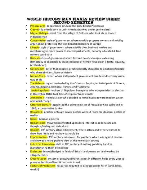 second semester review sheet