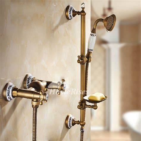 Solid Brass Bathroom Fixtures by Solid Antique Brass Best Shower Faucets Wall Mount Gold