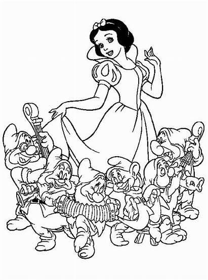 Coloring Snow Disney Dwarfs Seven Princess Neve