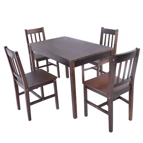 pcs solid pine wood dining set table   chairs home